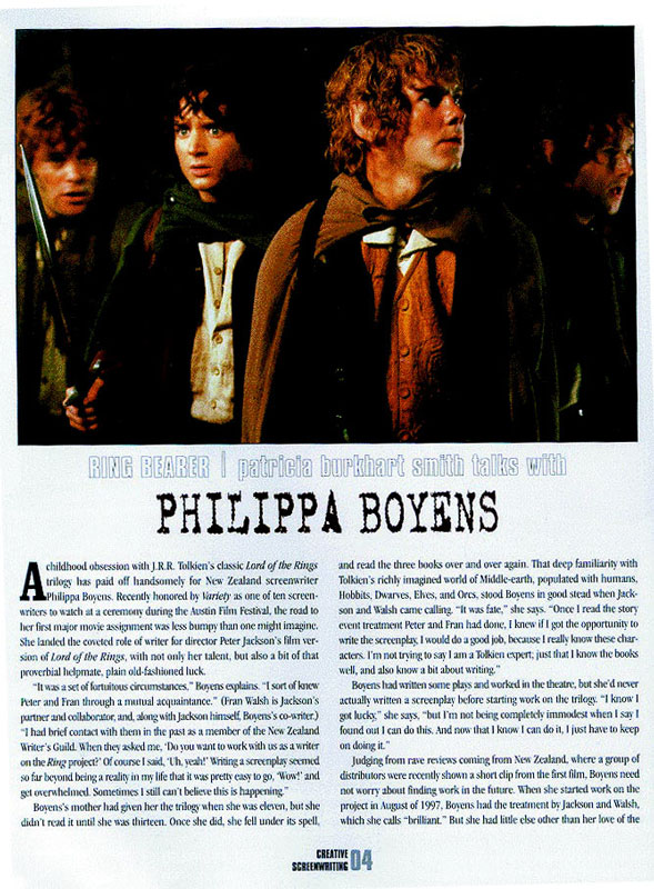 Boyens Talks To Creative Screenwiting (Vol.8 No.2) - page 1 - 589x800, 150kB