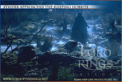 Aragorn Approaches The Sleeping Hobbits - 404x273, 67kB