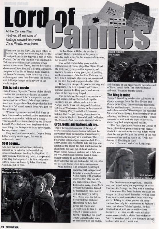 Frontier Magazine - Calisuri Writes about LoTR At Cannes - 555x800, 103kB