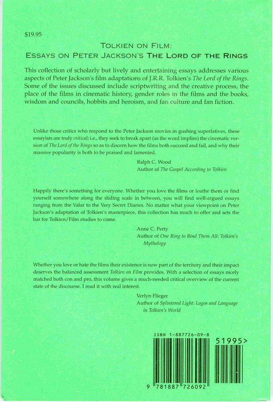 Tolkien on Film: Essays on Peter Jackson's the Lord of the Rings - 544x800, 99kB