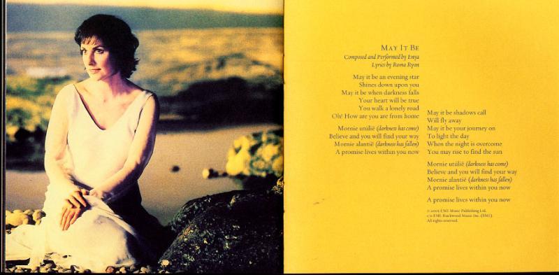SE FOTR Soundtrack - Enya 'May it Be' Lyrics - 800x393, 45kB