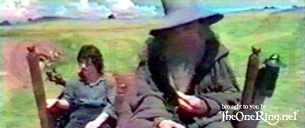 Frodo And Gandalf On The Cart - 444x186, 22kB