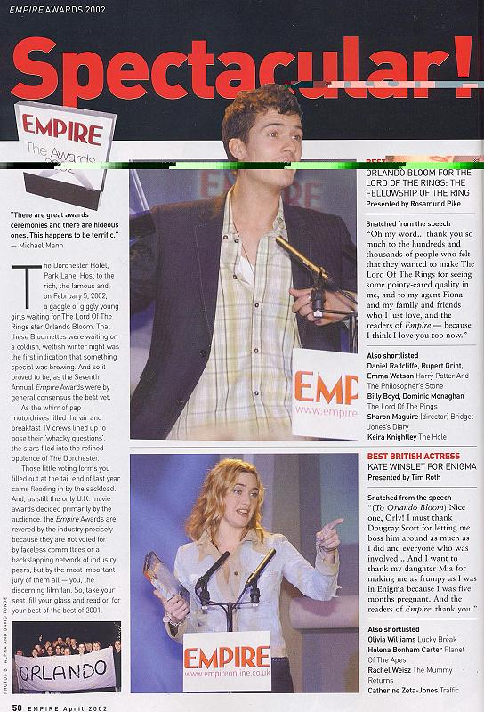 Empire Magazine reports on the 2002 Empire Awards - 544x800, 115kB