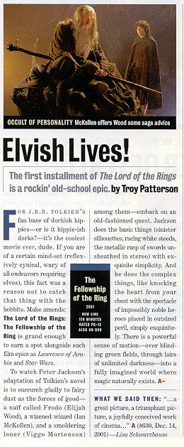 Elvish Lives! EW FOTR DVD Review - 260x629, 76kB
