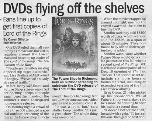 FOTR DVD Article 'DVDs Flying off the Shelves' - 500x398, 68kB