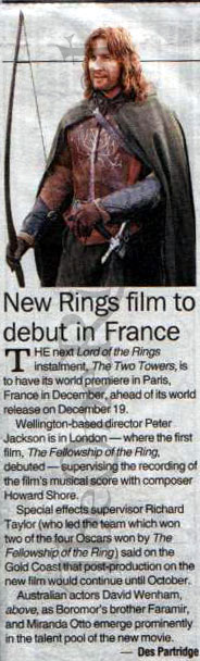 """The Courier Mail: """"New Rings Film to Debut in France"""" - 184x608, 42kB"""