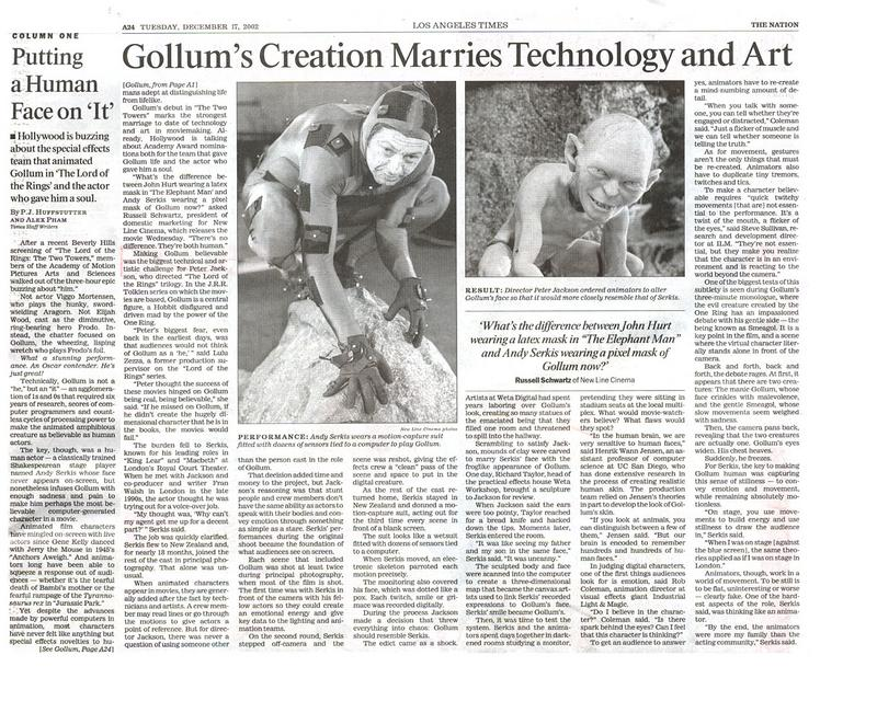 LA Times - Gollum's creation marries technology and art - 800x640, 133kB