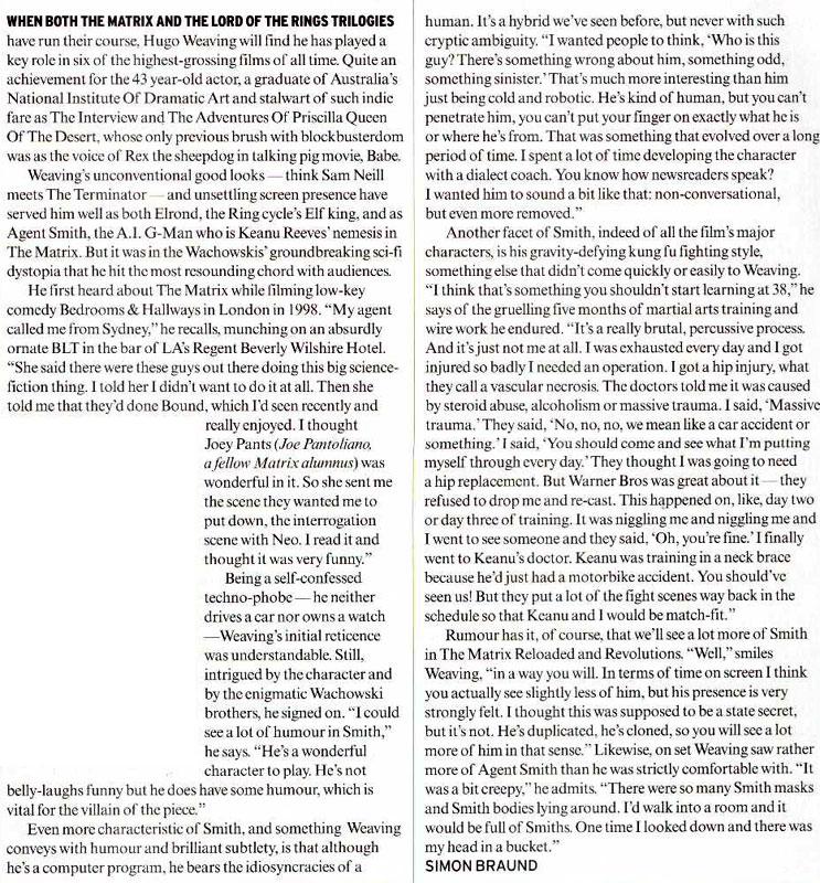 Media Watch: Empire Magazine talks to Hugo Weaving - 743x800, 243kB