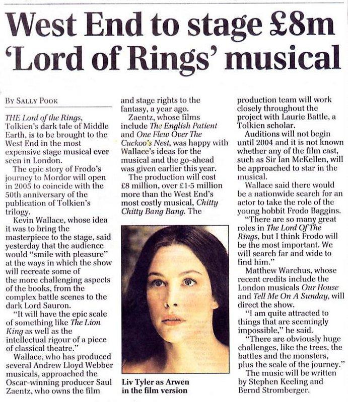 Media Watch: The UK's Daily Telegraph Talks LOTR Musical - 691x800, 174kB