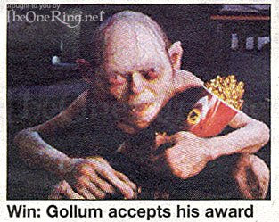 Gollum Accepts His MTV Movie Award - 313x249, 29kB