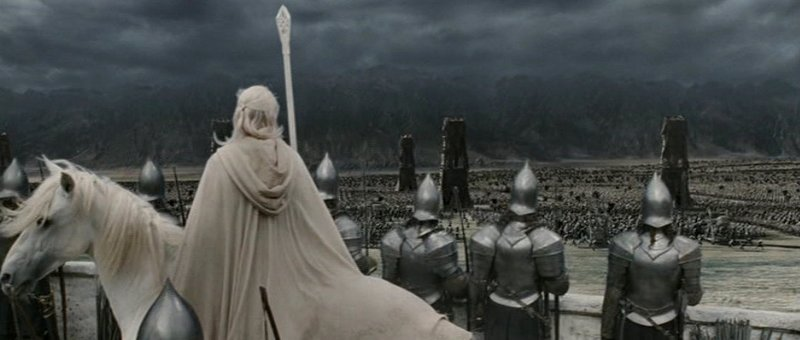 On the eve of battle, Gandalf on Shadowfax looks out over the besieged battlements of Minas Tirith at the amassed host of Mordor on Pelennor Fields - complete with huge siege towers and the gathering storm.