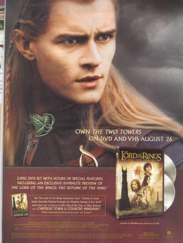 Media Watch: Entertainment Weekly's Legolas TTT DVD Ad - 602x800, 98kB