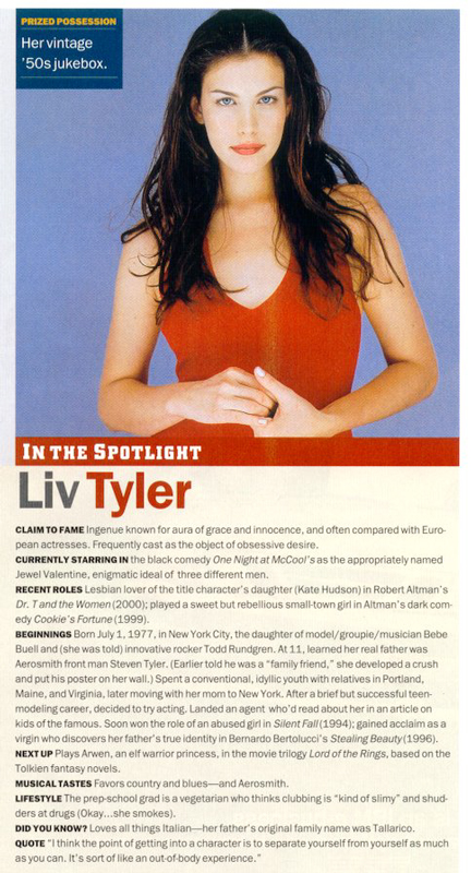 Liv Tyler in Biography Magazine - March 2001 - 432x800, 294kB