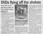 FOTR DVD Article 'DVDs Flying off the Shelves' - (500x398, 68kB)