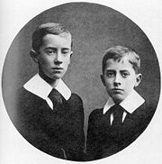 Ronald (left) and Hilary Tolkien in 1905