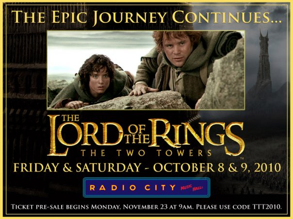LORD OF THE RINGS RADIO CITY TICKETS