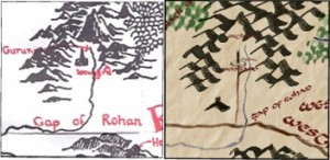Building on Tolkien's map (left) and the story, Mr. Kowal's map (right) shows the Road to Isengard.