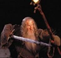 Gandalf challenges Balrog w Glamdring