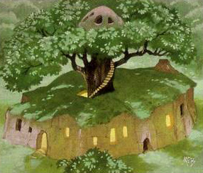 Radagast's house by Angus McBride, card art for Middle-earth Collectible Card Game