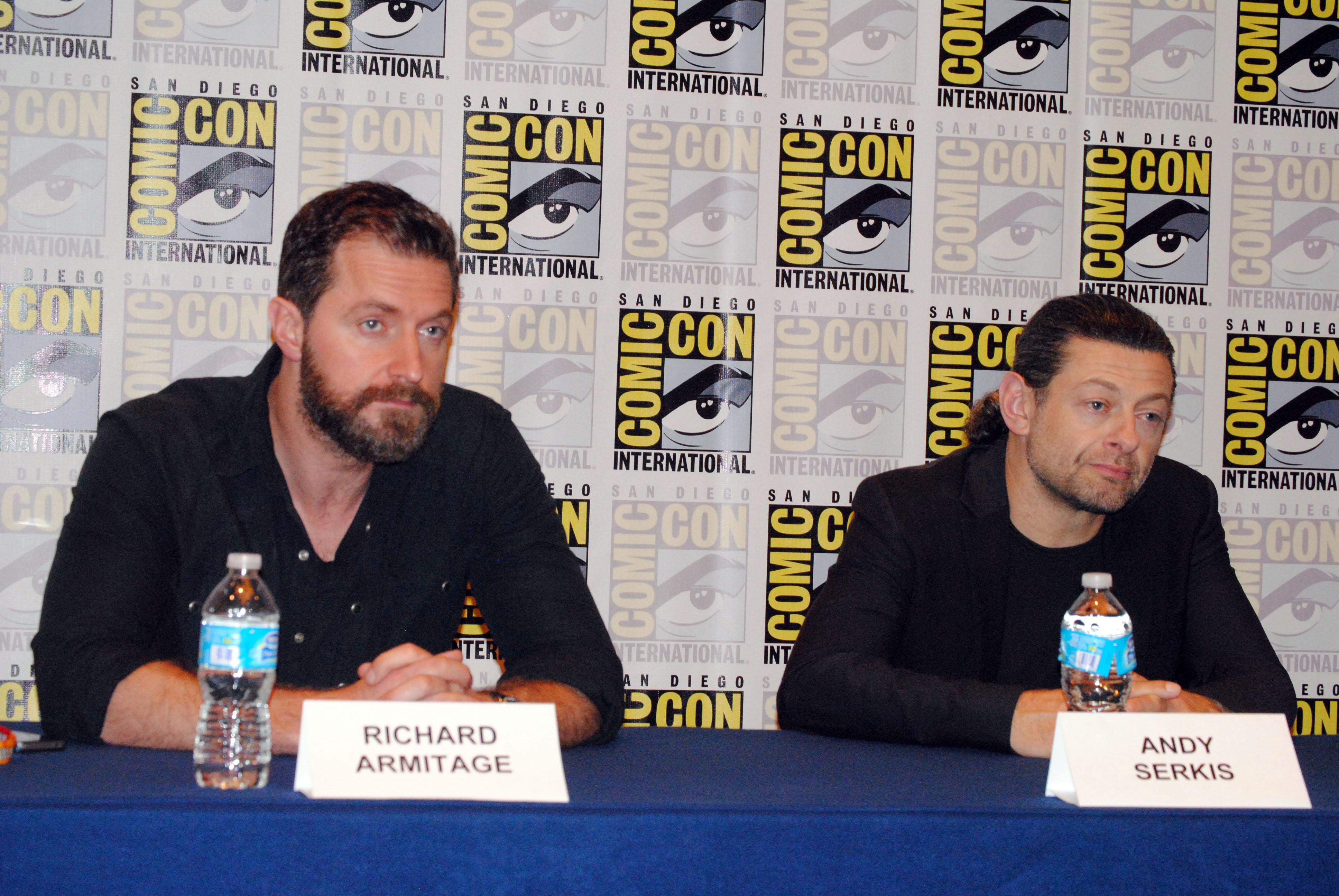 "Richard Armitage and Andy Serkis at ""Hobbit"" press conference at"