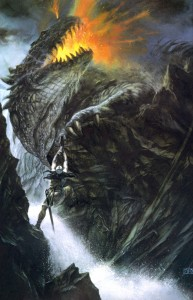 Glaurung the dragon, one of the chief weapons Morogth used to defeat the Eldar in Beleriand. Artwork: John Howe.