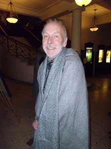 Barry from Stansborough, modelling cloaks and scarves for the line party