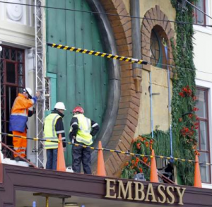 embassy theatre bag end facade