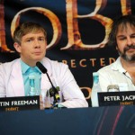 Martin Freeman, who plays the leading role in The Hobbit: An Unexpected Journey, tries on his Hobbit Halo next to Peter Jackson.