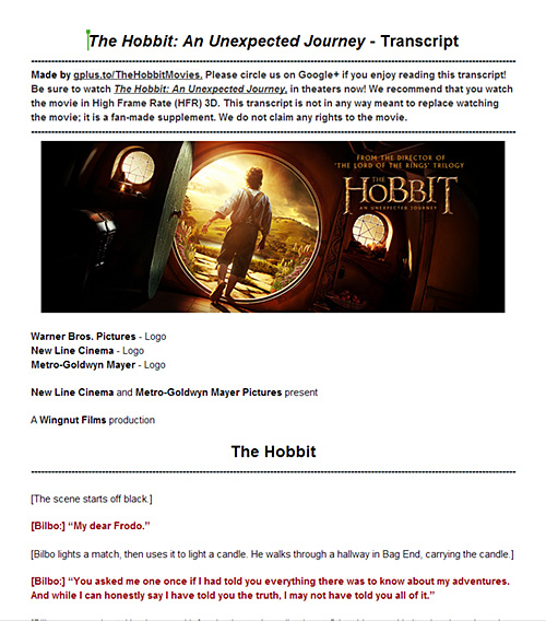 The Hobbit: An Unexpected Journey. A complete transcript.