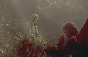 Aragorn at Gilraen's grave