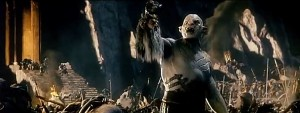 Azog holds aloft the head of the Dwarven King, Thorin Oakenshield's grandfather.