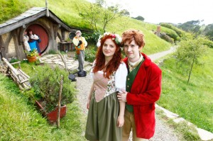 Red Carpet's Premiere Tour group dressed up for their Hobbiton visit
