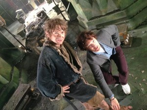 Martin Freeman as Bilbo with Benedict Cumberbatch.