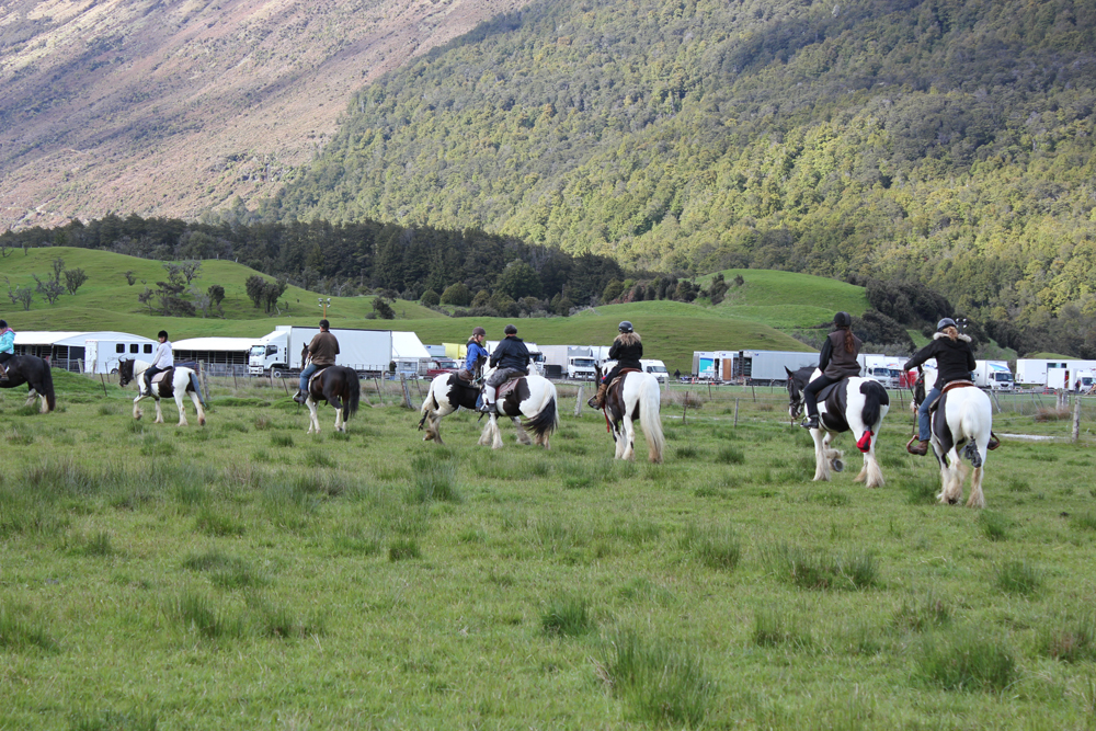 The horses being put through their paces on set.