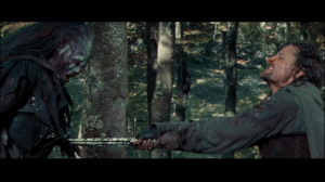 Lurtz stabbed by Aragorn.