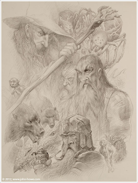 From the 2013 Tolkien Calendar illustrated by John Howe. Beorn at centre-right.
