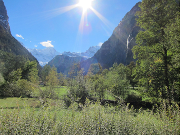 Lautenbrun waterfall with Eiger Monch & Jungfrau