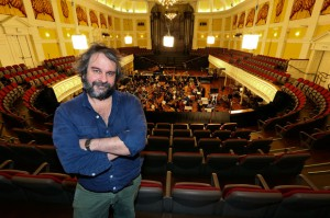 Director Peter Jackson in the gallery of the Wellington Town Hall during the New Zealand Symphony Orchestra's recording sessions for 'The Hobbit: The Desolation of Smaug'. Photo / Hagen Hopkins.