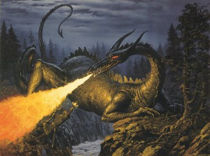 Turin slays Glaurung by Ted Nasmith.