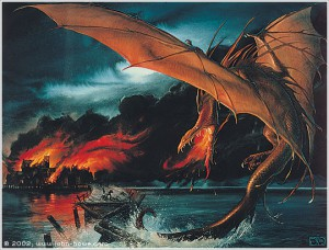 Smaug over Lake-town by John Howe.