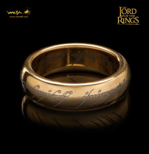 The One Ring - Gold Plated on Tungsten Steel with ring script