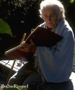 Bilbo writing in Rivendell