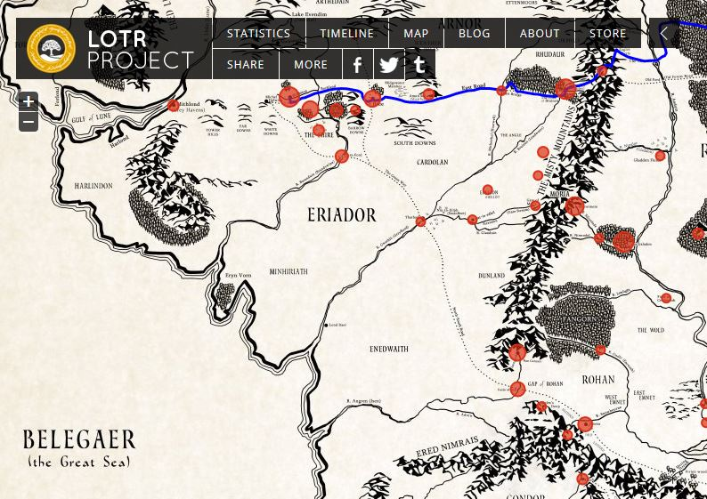 A new interactive historical map of Middleearth from LOTRProject