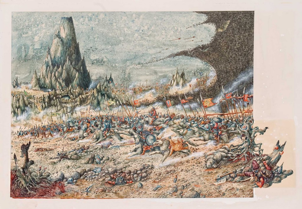 The Battle of Five Armies. Published in-Ratspike by GW Books and Tolkien Bestiary by Mitchell Beazley Publishers and The Hobbit by J R R Tolkien