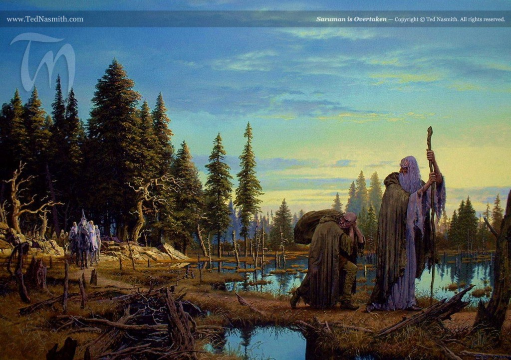 Saruman is Overtaken by Ted Nasmith.