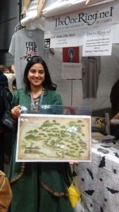 A lucky winner - with Weta's beautiful Shire map