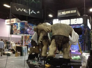 Trolls from The Hobbit being set up at Comic-Con 2012
