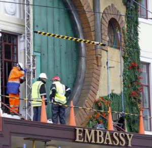 embassy theatre bag end facade