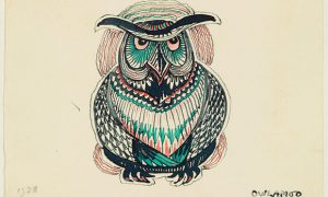 Ink drawing of an owl called Owlamoo. The picture was given to Tolkien's son Michael, who had nightmares about the creature. Photograph: Tolkien Trust 1992