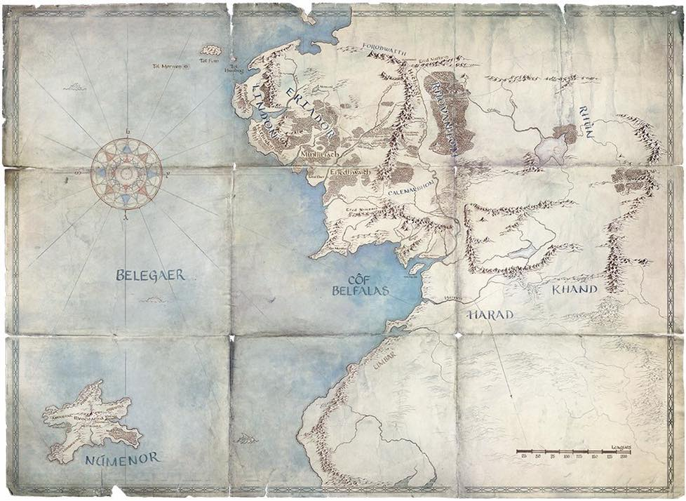 Amazon's map, showing the West of Middle-earth, and the island of Numenor.  What clues does it give us about the plot of Amazon's Middle-earth TV series?